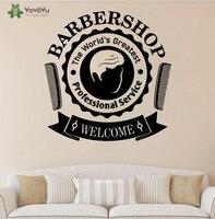 Barbearia YOYOYU Decalque Da Parede do Vinil Adesivos de Parede Citações Bem-vindos Janela Arte Mural Removível Interior Houseware Decoração Cool SY688