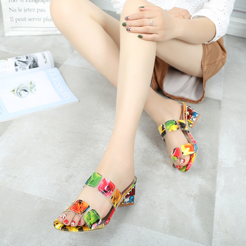 2019 New Summer Women Multi Colors Sandals Fashion High Heels Open Toe Beach Flip Flops Ladies Crystal Heels Shoes Woman XWT1893 4