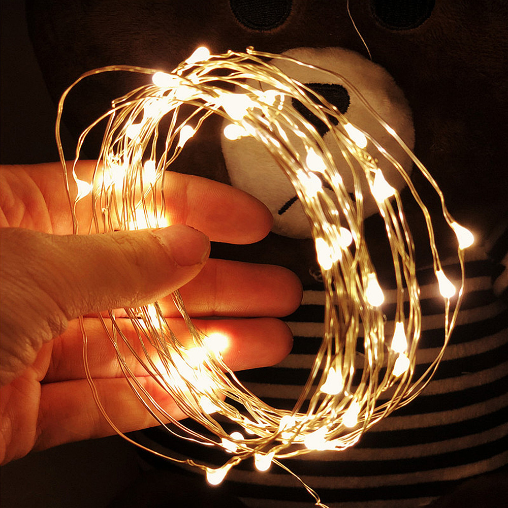 10 mt 5 mt 2 mt 1 mt Fee LED String Lichter Silber Draht Für Home Weihnachten Hochzeit Party Dekoration girlande Angetrieben durch Batterie USB