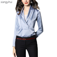 Women Blouse Satin Silk Office Shirt Fashion 2019 Long Sleeve V Neck Blouses Casual Spring Work Wear Shirts Top Blue Beige Color