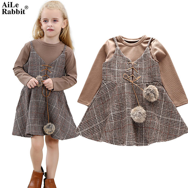 2a3772ad9 AiLe Rabbit New Girl Clothes Dress Long Sleeve T Shirt Dress 2 ...