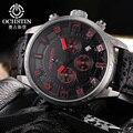 Ochstin venda novo 2017 esporte relógios relógio militar do exército dos homens de couro marca de luxo à prova d' água relógio masculino horas relogio masculino
