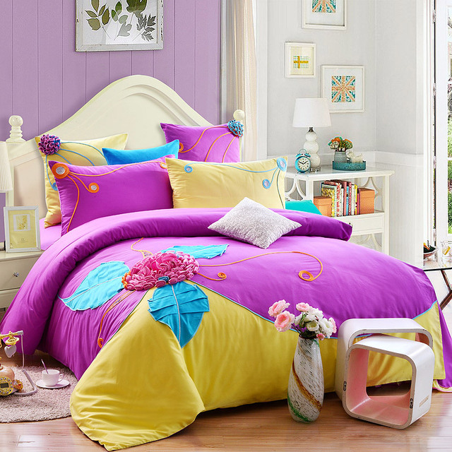 6pcs high quality queen bed set luxury wedding bedding sets 3d