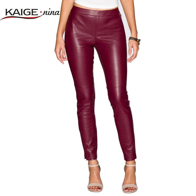 Otoño Primavera caramelo cintura elástica Delgado clásico de la moda leggings arriba elástico pantalones de cuero plana de impresión Polainas de las mujeres 6003