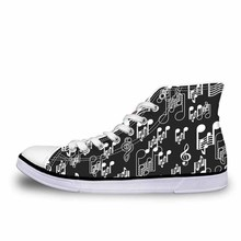 NOISYDESIGNS Spring High Top Vulcanize Shoes Man Breathable Wear-resistant Canvas Shoes Music Notes Print Comfortable Sneakers