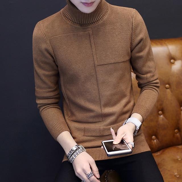 Cuello alto invierno suéter para hombres 2018 nueva manga larga estudiante  masculino Delgado suéter camisa básica 5a11100abdc6