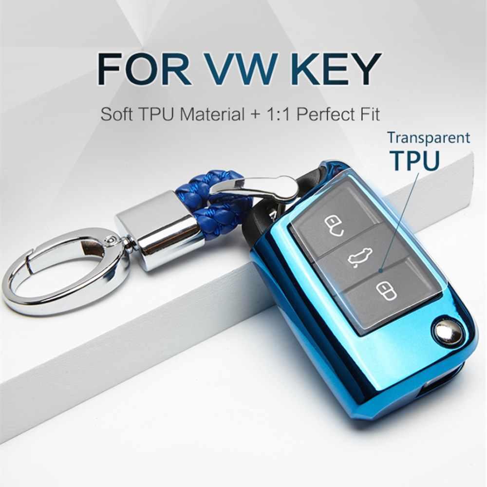 2019 yeni TPU araba anahtarı durum kapak için Volkswagen VW Golf 7 MK7 Passat Polo Tiguan için koltuk Leon Ibiza skoda için anahtarlık FOB kabuk