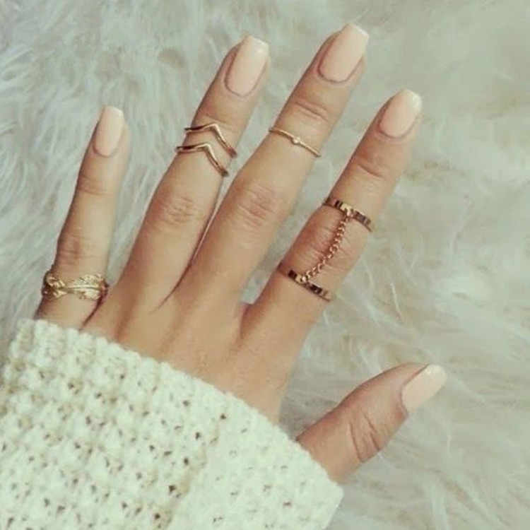 6pcs/lot adjustable Ring Set Punk style Gold Color Knuckle Rings for women midi Finger Knuckle rings Ring Set drop shipping