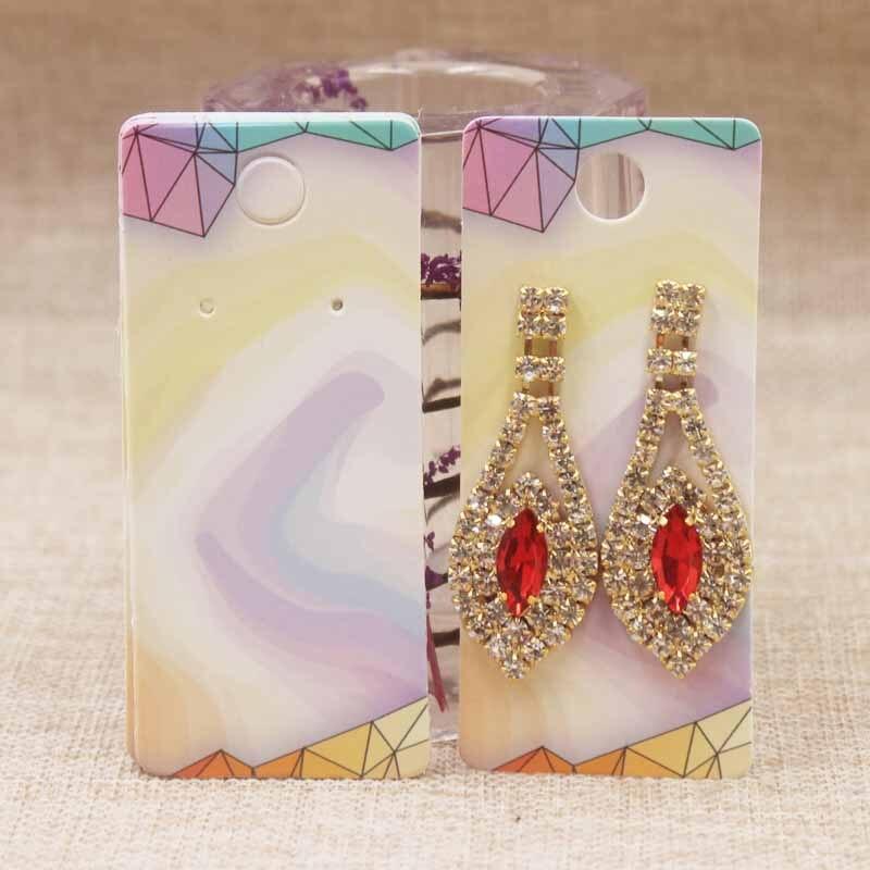 100pcs Pink Red Heart Style Jewelry Display Card Earring Display Cardboard Kraft Custom Logo Personal Printing Hot Selling4x9cm