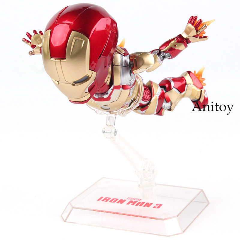 EAA-036 Marvel Action Figures Iron Man 3 Iron Man MARK 42 Hot Toys with LED Light PVC Egg Attack Action Collectible Model Toys marvel the avengers stark iron man 3 mark vii mk 42 43 mk42 mk43 pvc action figure collectible model toys 18cm kt395