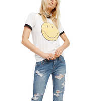 Emoji Graphic T Shirt Women Clothes 2019 Summer Aesthetic Feminist Tumblr Vegan Vintage Retro Smiley Face Tees White Cotton Tops