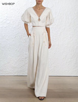 Luxury 2018 Fashion Summer Cream Linen High Waist Sides Pleats Lace up Tied Wide Leg Trousers Back Zipper mini Flared Pants