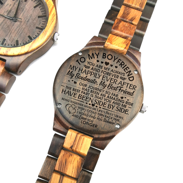 TO MY BOYFRIEND ENGRAVED WOODEN WATCH IN YOUR EYES I HAVE FOUND MY HOME 2