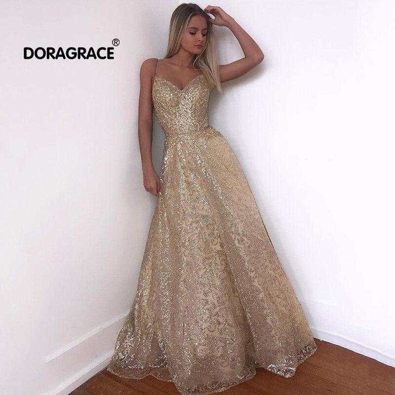 Doragrace robe de soirée élégant paillettes dentelle Tulle longue robe de bal robes de soirée