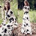2016 хорошее качество женщины мода dress длинным рукавом шифон старинные dress floral embroidery dress чешские summer long maxi dress