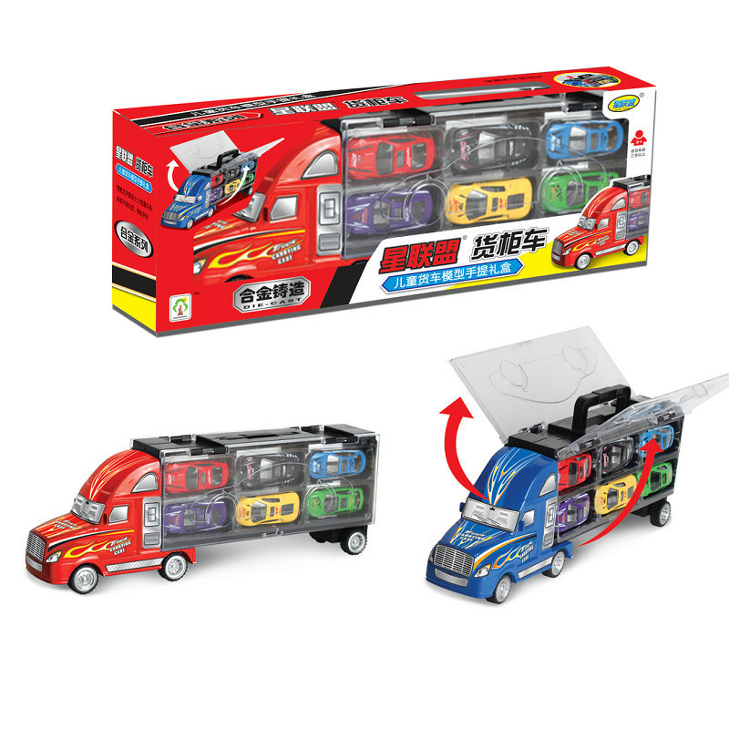 12pcs/set Diecast Metal Alloy Model Car Toy Container Truck Portable Kids Mini Pull Back Cars Model Kids Boy Birthday Gifts Toys