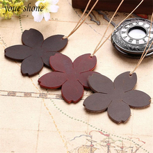 1PCS Bookmark Good Leather Handmade First Layer Cowhide Retro Flower Shape Art Leather Card Tag Crazy Horse Skin Gift YOUE SHONE