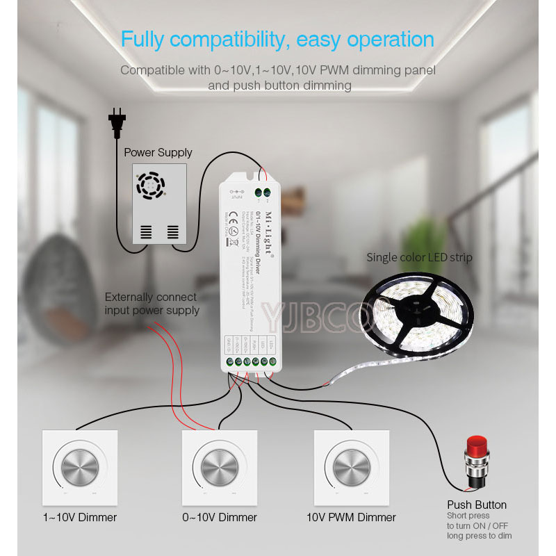 где купить DC12V-24V New milight LS4 0/1~10V led Dimming Driver PWM or Push Dimming Signal Input led controller for single color led strip по лучшей цене