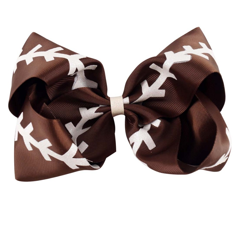 """7/"""" Softball Leather Hair Bows With Alligator Clip For Kids Girl Print Bling Bows"""