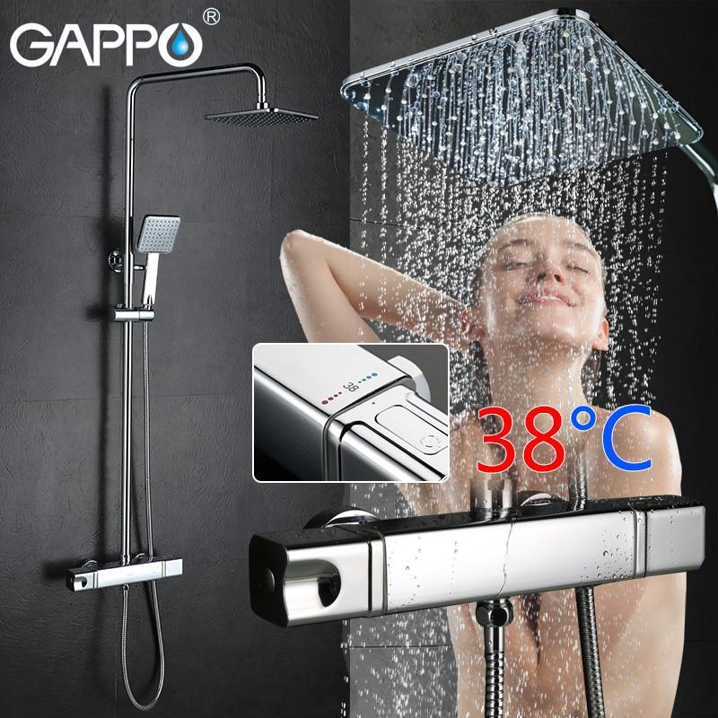 GAPPO système de douche salle de bains douche thermostat robinet mélangeur robinet cascade wall mount mostatic mélangeur bain douche robinets robinets