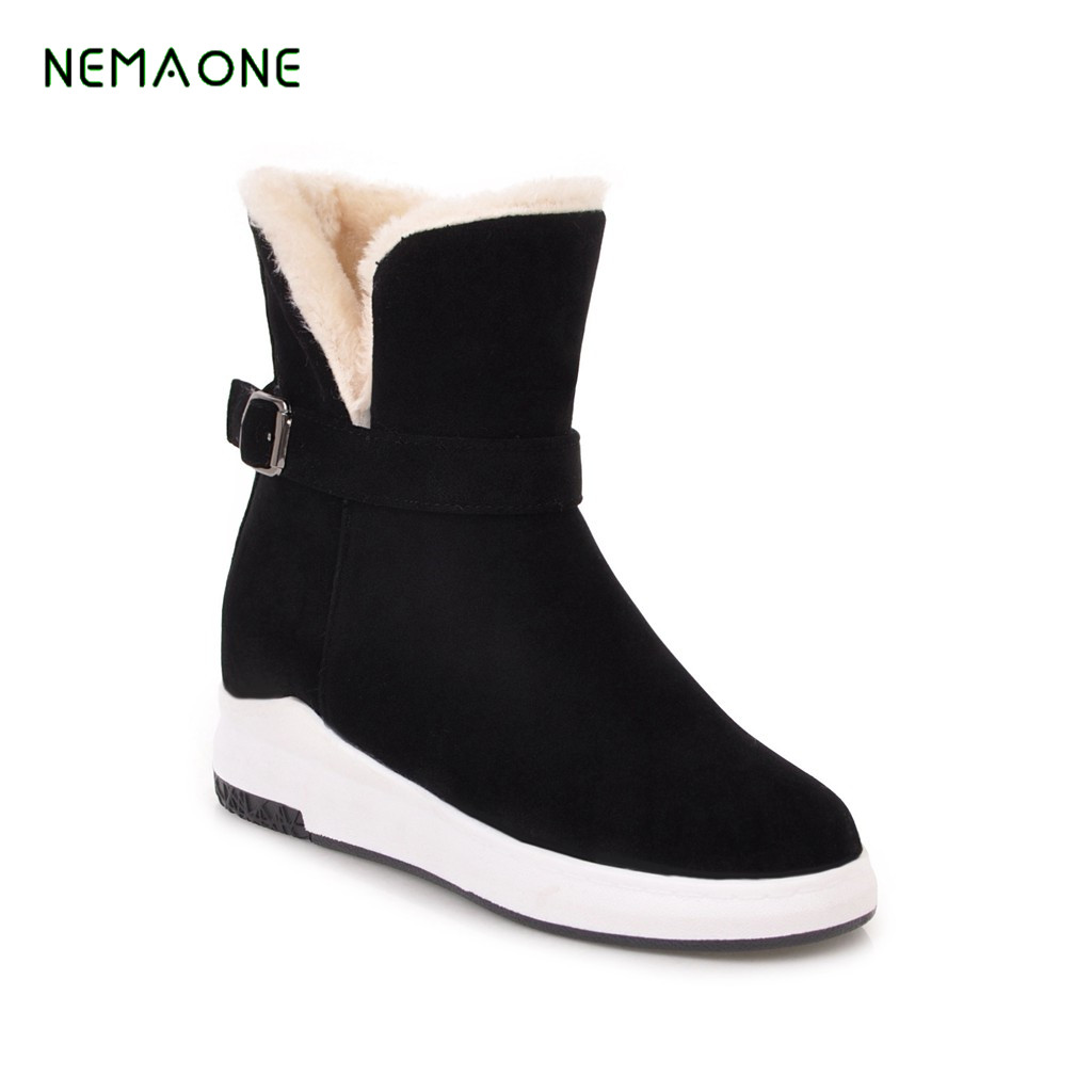 купить NEMAONE Female Winter Warm Plush Ankle Snow Boots 2019 Women Fashion Fur Lace Up Thick Heel Casual Solid Black Style Shoes по цене 1500.78 рублей