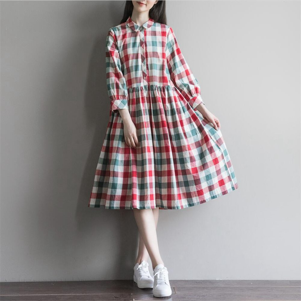 Summer Dress Short Sleeve Turn Down Collar Cotton Linen Dress Plaid Print High Waist Casual Women