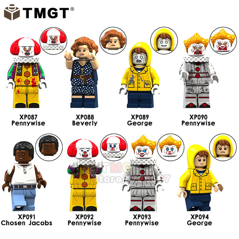 50PCS LOT Movie It Character Terror Pennywise George Beverly Chosen Jacobs Building Blocks Toy Gift For