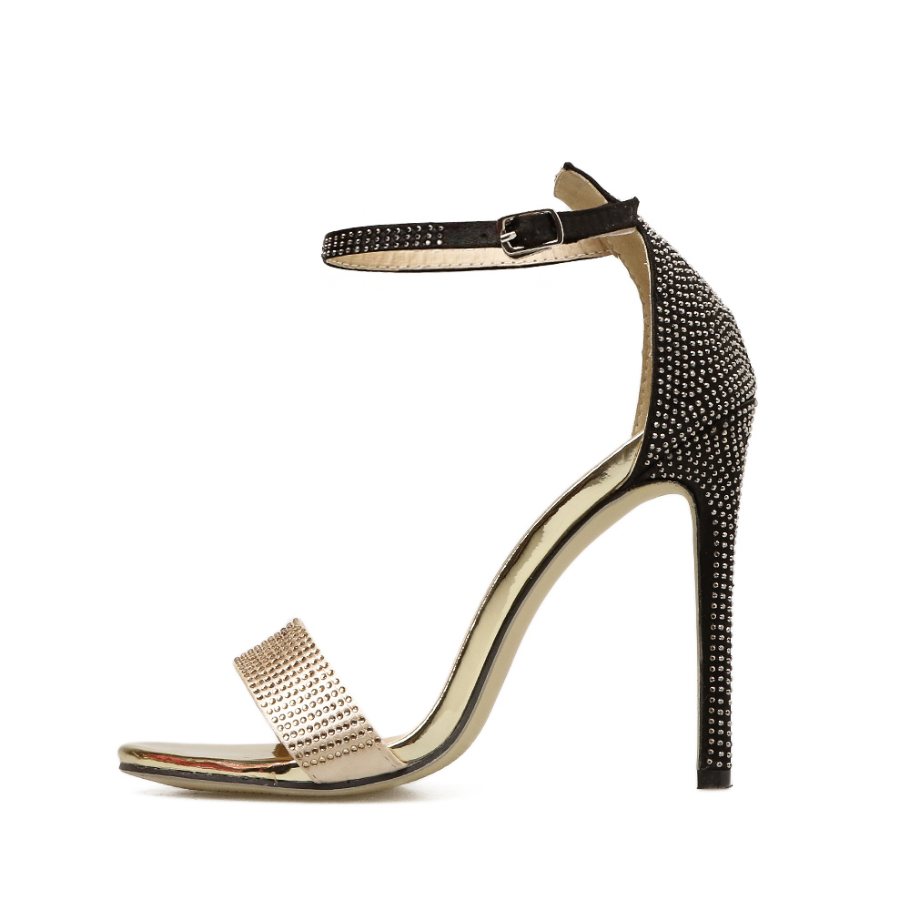 Sandals Rhinestone Crystal Mixed Color High Heels Open Toe Pumps