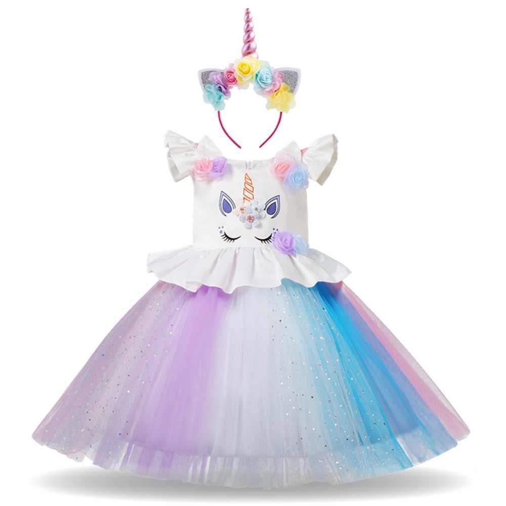 Unicornio niños niñas 2 piezas ropa de bebé conjunto Arco Iris tutú vestido fiesta cumpleaños Cosplay disfraz princesa vestido diadema niñas traje