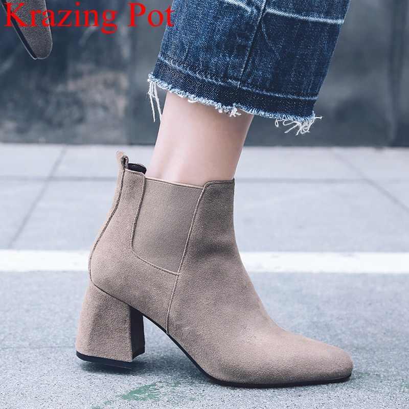 2018 yeni varış büyük boy çocuk süet yuvarlak ayak yüksek topuklu kadın yarım çizmeler ofis lady mujer tatil zarif kış ayakkabı l49