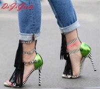 Summer Most Fashion Women Brand Gladiator Sandals Women Pumps Faux Suede Tassel Fringe Strappy Sexy Open