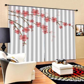 pink Plum blossom curtains 3D Curtain Luxury Blackout Window Curtain Living Room Decoration curtains