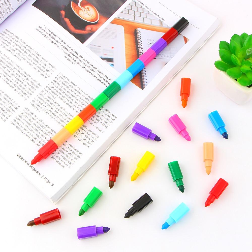 2Pcs 12 Colors Crayon Creative Building Blocks Crayon Cute Kawaii Graffiti Pens For Painting Korean Stationery Student for kids