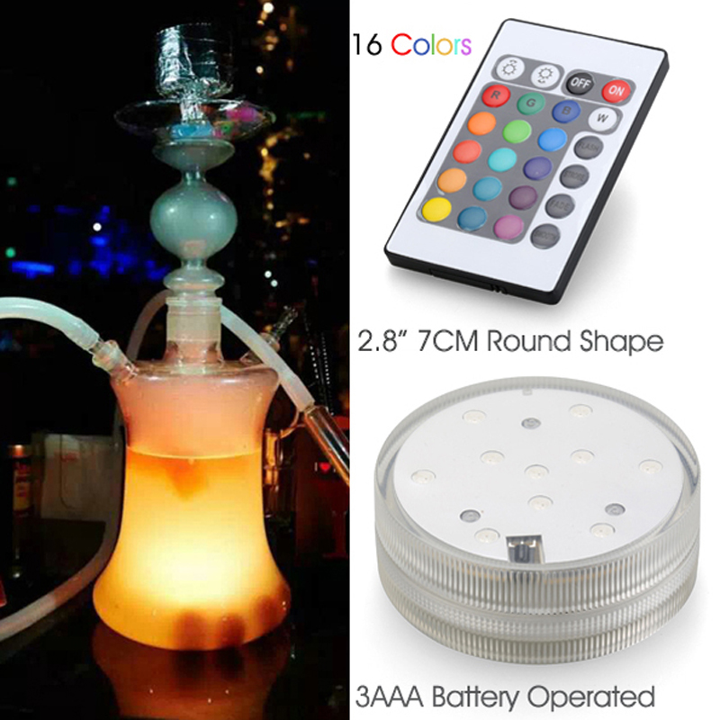 New Arrival 12pcs/lot Glass Hookah Shisha led light Accessories Battery Powered Multi Colors Led Light with Remote Control