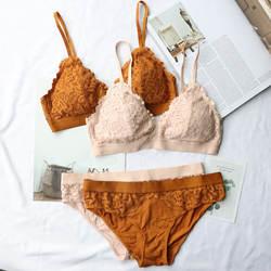 Wriufred сексуальный романтический треугольник чашка бюстгальтер набор кружева удобные собранные женское нижнее белье наборы цельный