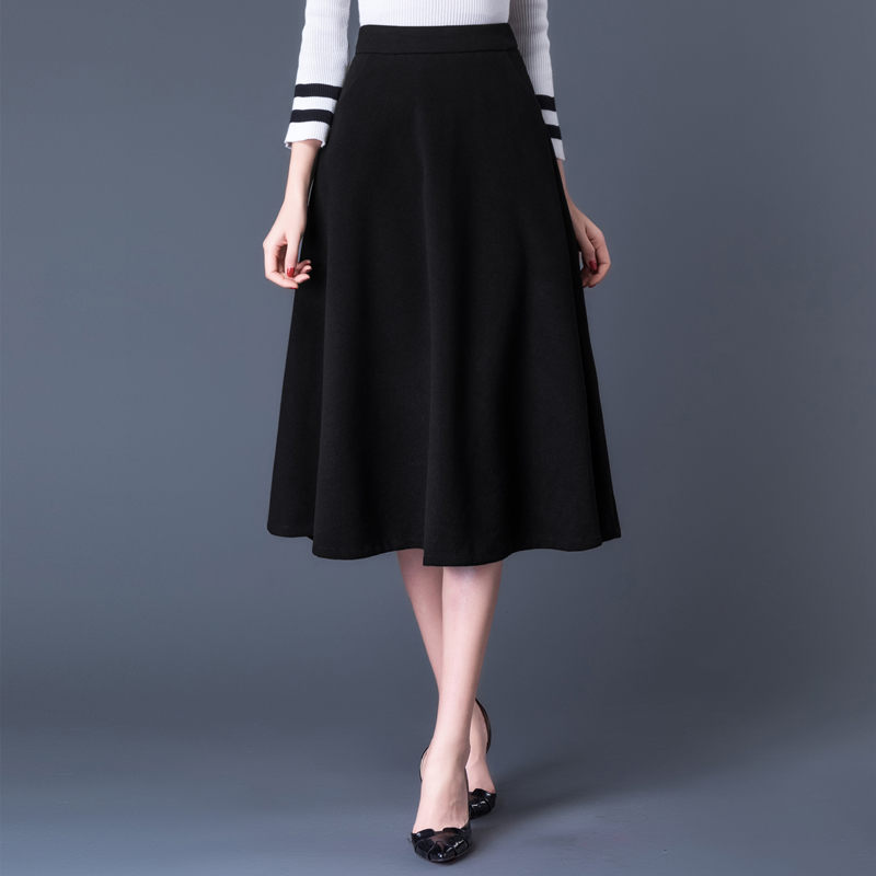 2019 Plus Size High Waist Thicken Woolen Mid Skirts Womens Autumn Winter Office Lady Wool Skirt Black Pocket Woolen Skirt Femme