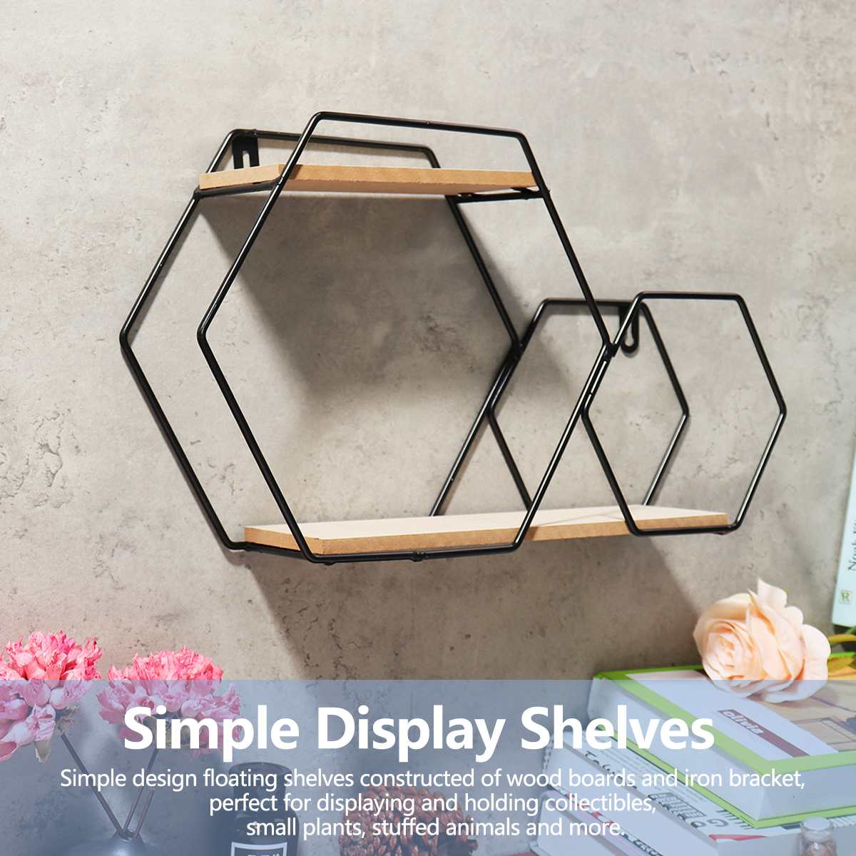 Nordic Wooden Iron Wall Shelf Hexagon Geometric Storage Rack Hanging Organizer For Kitchen