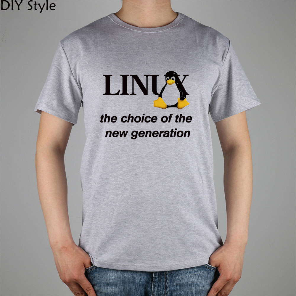 LINUX T-shirt Top Lycra Cotton Men Little Penguin T shirt New Design High Quality Digital Inkjet Printing