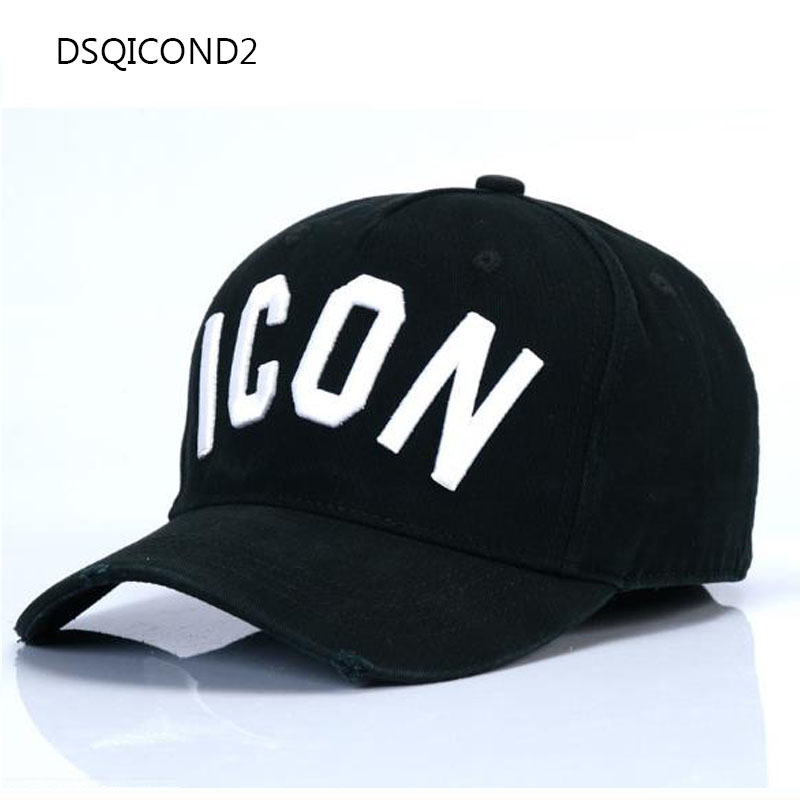 2017 New Arrival Baseball Cap ICON dsq Ladies Summer Hat Men's Euramerican Street Celebrity Show Cap Baseball Cap Black Cap Hats nuforce icon hdp black