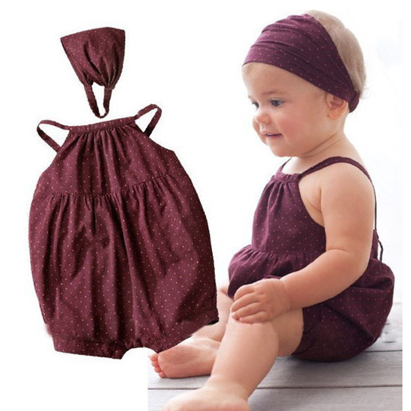 CN Summer Jumpsuit Baby Dots Sling Bodysuits + headband 2 pieces 0-2 - ملابس للأطفال الرضع