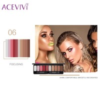 Acevivi Brand 2018 New Makeup Beauty 10 Colors Matte Eye Shadow Palette With Double Ended Brush