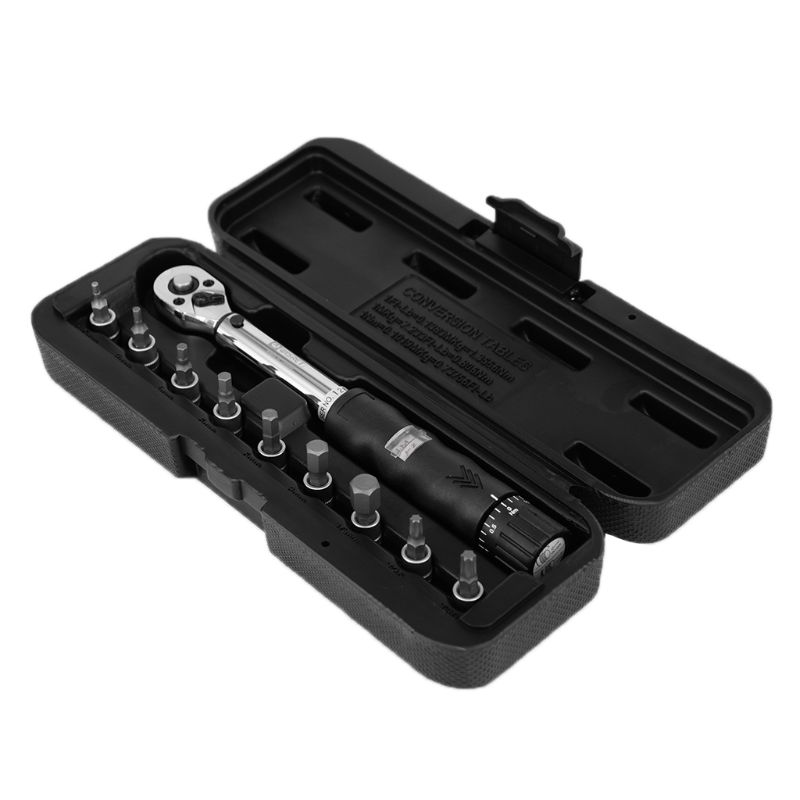 "1/4 ""2-14nm Drive Klik Momentsleutel Hand Spanner + 9 Socket Bits + Box Set Fiets Tool Wrench"