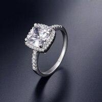 925 Sterling Silver Wedding Rings For Women Square Diamonds Simulator Ring Bague Bijoux Zirconia Engagement Rings