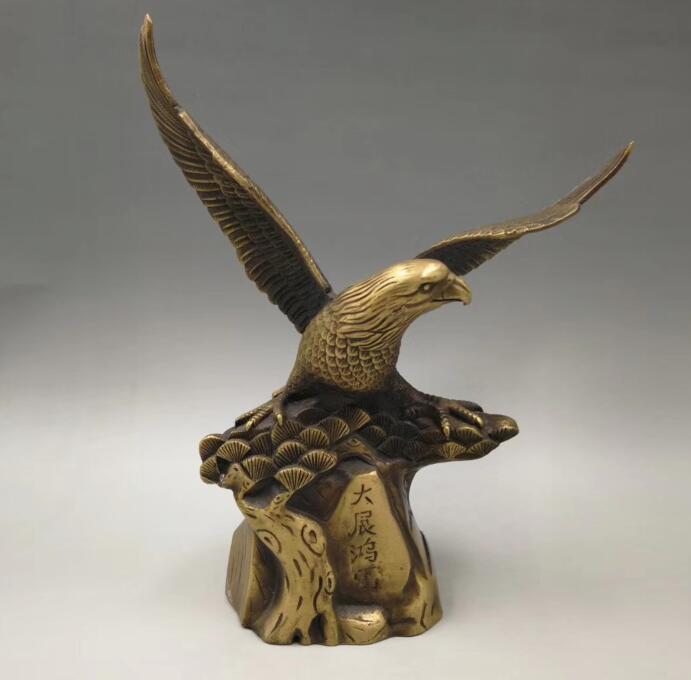 Cinese ottone puro Seiko intaglio aquila artigianato statuaCinese ottone puro Seiko intaglio aquila artigianato statua