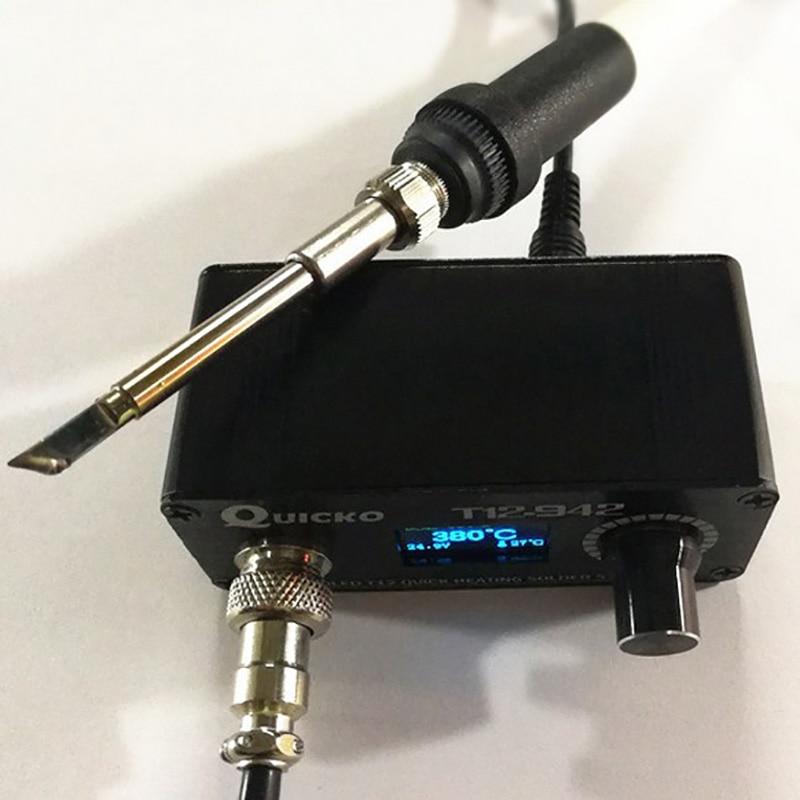 Metal 75W Quicko T12-942 OLED Digital Soldering Station T12-907 Handle+T12-K Tip