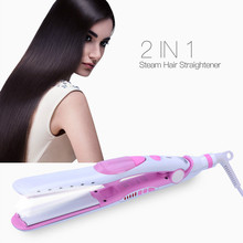 Cheapest prices 110-240V Steam Flat Iron Vapor Straightener Hair Plate LED Display Ceramic Hair Iron Curling Steam Straightening Hair Tool
