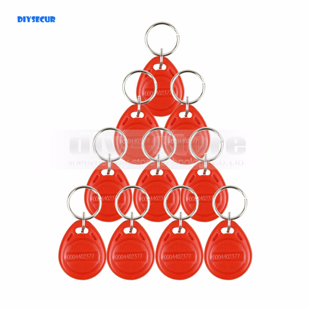 DIYSECUR 10pcs 125Khz RFID Card Key fobs Key Chian For Access Control System 125KHz RFID Reader Use Red diysecur 50pcs lot 125khz rfid card key fobs door key for access control system rfid reader use red