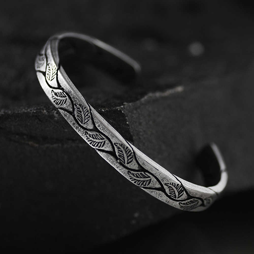 Antique Titanium Stainless Steel retro silver leaf black Punk Viking bracelet New Design Open Cuff Bangles Jewelry For Men