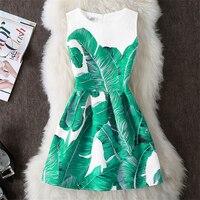 Vestido de verano jacquard estampado vintage sin mangas 1