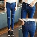 2016 summer autumn Women High Waist Stretch Ripped Knees Jeans feminino Holes Skinny Pencil Denim Pants black/blue Trousers
